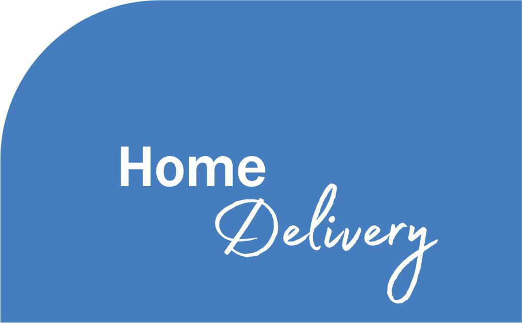 Blue background with words Home Delivery
